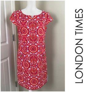 London Times Shift Simmer Coral Dress Cap Sleeve